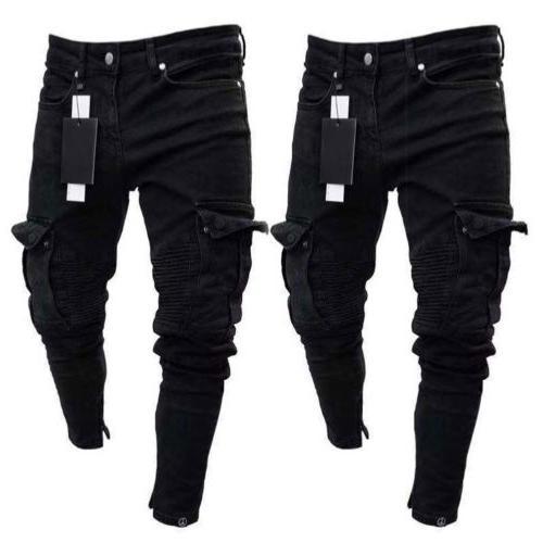 US Men Biker Jeans Destroyed Slim Pocket Cargo Pants