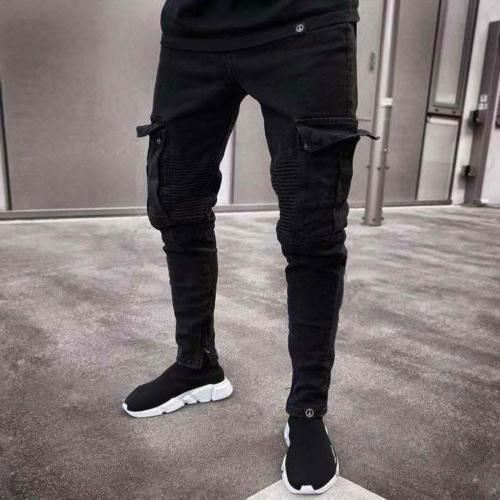 USA Skinny Destroyed Frayed Denim Cargo Pants Trousers