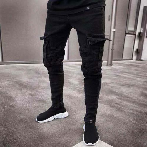 US Biker Jeans Frayed Slim Fit Pocket Pants