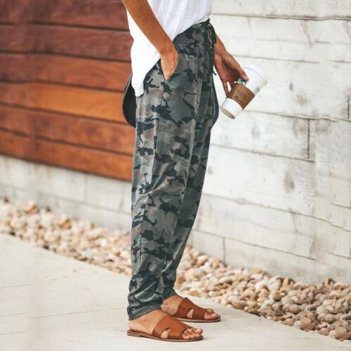 USA Women's Camo Cargo Harem Camouflage Loose Casual Long