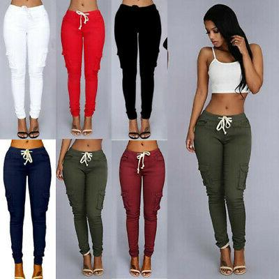 Women Cargo Pants High Waist Jogger Skinny Trousers Side Poc