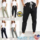 Women Casual Cargo Pants Elastic Waist Leggings Pants Skinny