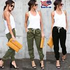 Women Ladies Cargo Pants Elastic Waist Jogger Skinny Trouser