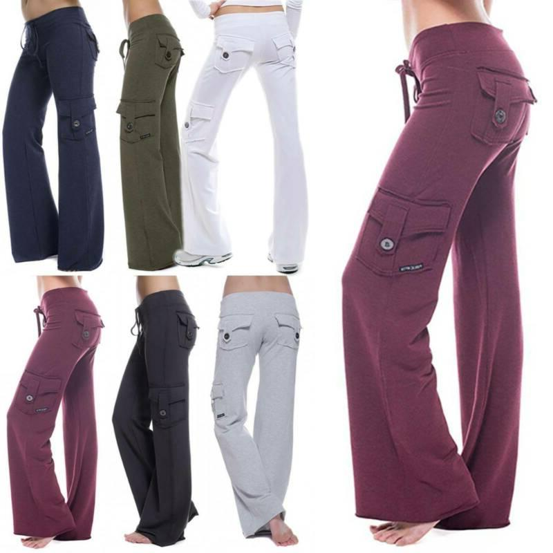 Women Cargo Pants Yoga Gym Loose Pockets Trousers Sport Runn
