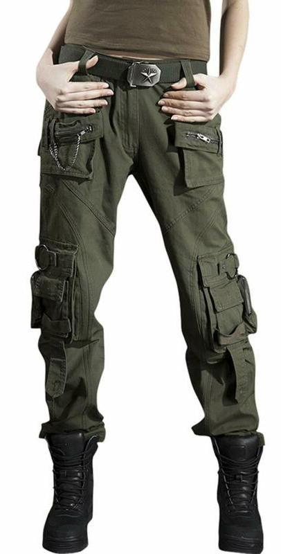 Chouyatou Women'S Casual Camouflage Multi Pockets Cargo Pant