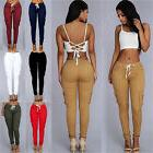 Women's Skinny Cargo Pencil Pants High Waisted Stretch Solid