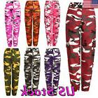 Womens Casual Camouflage Pants Camo Cargo Joggers Military A