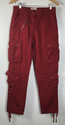 womens dark red cargo pants size multi
