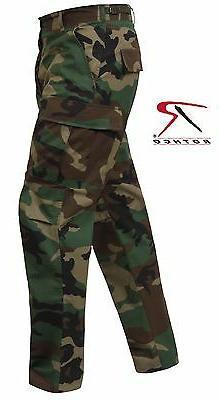 Woodland Camo Rip-Stop Cotton BDU Cargo Pants - Mens Militar