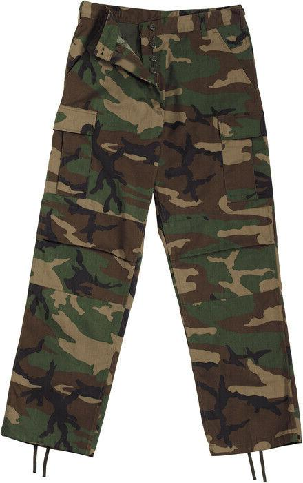 Woodland Camo Tactical BDU Pants Cargo Army Fatigues Camoufl