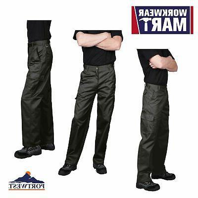 Portwest C701 Cargo Work Pants for Men, in Navy & Black: siz