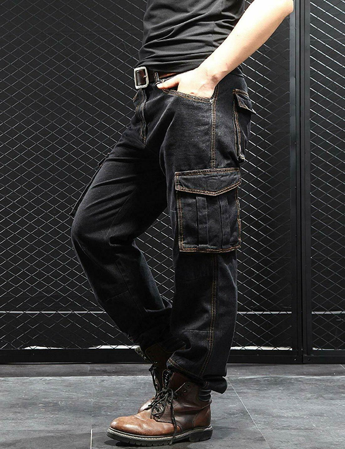 Yeokou Casual Hip Hop Work Pants Jeans with Pockets
