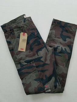 Levi's 502 Mens 29 x 32 Green Camoflage Stretch Taper Hybrid