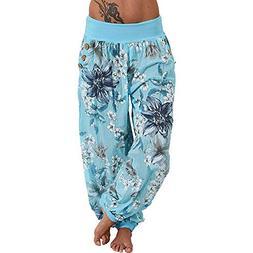 SERYU Loose Pocket Button Harem Pants Women Casual Print Pan