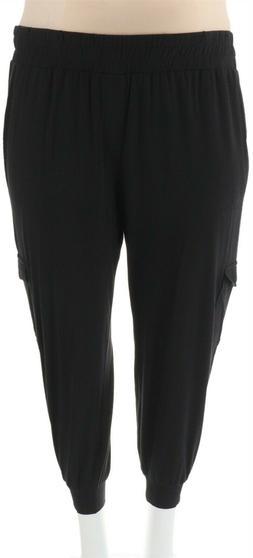 AnyBody Loungewear Petite Cozy Knit Cargo Jogger Pants Black
