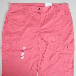 LP108 Style&co Women's Plus Cream Blush Cargo Capri Pants NW