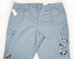 LP226 Style&co Women's Plus Embroidered Capri Cargo Pants NW