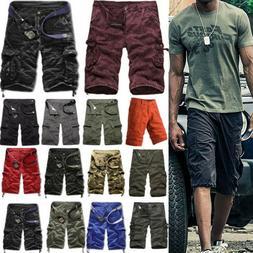 Men Boys Cargo Shorts Military Camo Combat Pants Workout Mul