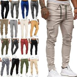 Men Cargo Casual Sports Pants Gym Slim Trousers Running Wint