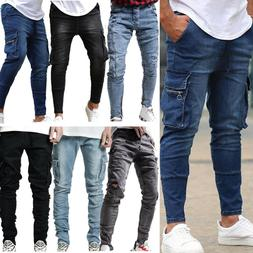 Men Cargo Combat Jeans Bottom Denim Pants Jogger Slim Fit Bi