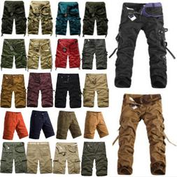 Men Cargo Pants Shorts Trousers Casual Military Camo Combat