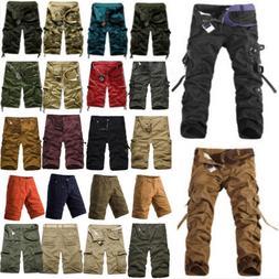 Men Cargo Pants Shorts Trousers Casual Military Camo Combat