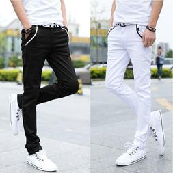 Men Casual Solid Color S-lim Fit Elastic Long Trousers Pocke