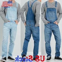 men denim cargo straight jumpsuit jeans overalls