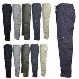 Men Elastic Waist Cargo Pants Combat Camo Military Army Hiki