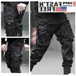 men fashion black tactical cargo harem pants