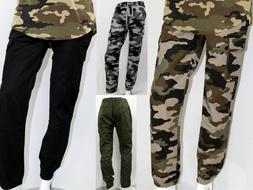 MEN TWILL JOGGERS PANTS WITH CARGO POCKETS SLIM FIT 6 COLOR