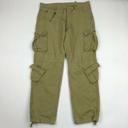 Must Way Men Khaki 8 Pockets Army Tactical Cargo Pants sz 36