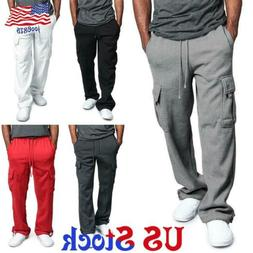 Men Loose Cargo Pocket Pants Gym Workout Casual Sport Trouse