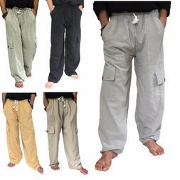 Men's 100% Cotton Cargo Pants One Size baggy pants Drawstrin