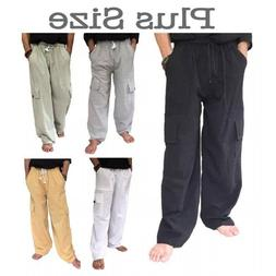 Men's 100% Cotton Cargo Pants PLUS Size baggy pants Drawstri