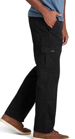 Men's Wrangler Cotton Cargo Pants Black Relaxed Fit Tech Poc