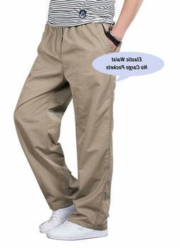 Chartou Men'S Active Elastic-Waist Loose Fit Cargo Pants Tro