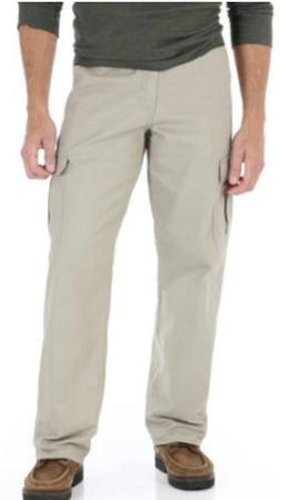 Men's Wrangler BIG MAN Khaki Cargo Pants Relaxed Fit Tech Po