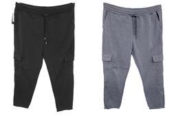 Men's SOUTHPOLE black heather grey fleece active cargo jogge