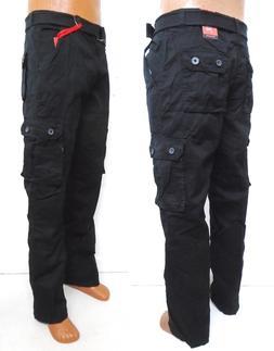 Men's PJ MARK Black Slim Straight cargo pants With Belt 4134