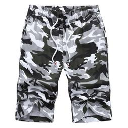 Men's Camo Cargo Shorts Military Army Camouflage Loose Short