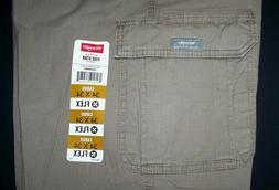 Men's Wrangler Cargo Pants w Flex Relaxed Fit Tech Pocket Kh