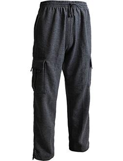 Hat and Beyond Men's Cargo Sweatpants Heavyweight Fleece Lon