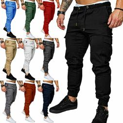 Men's Casual Cargo Pants Joggers Combat Summer Sweatpants Tr