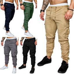Men's Casual Long Pants Gym Sport Running Cargo Pants Jogger