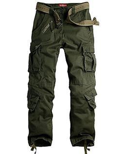 Jessie Kidden Men's Casual Military Cargo Pants, 8 Pockets C