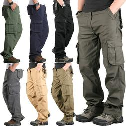 Men's Cotton Cargo Pants Work Military Combat Tactical Army