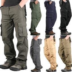 Men's Cotton Casual Military Army Cargo Work Pants With Pock