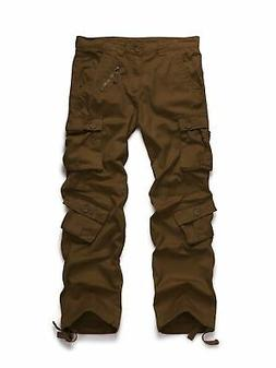 OCHENTA Men's Cotton Military Cargo Pants, 8 Pockets Casual