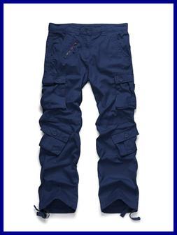 OCHENTA Men's Cotton Military Cargo Pants 8 Pockets Casual W